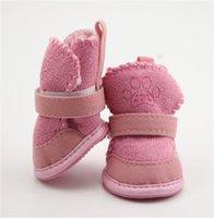 4 pçs / set antiderrapante sapatos cão sapatos de algodão à prova d'água de inverno quente sapatos de cachorro teddy pet de espessura macia botas de neve para baixo para cão pequeno 447 v2