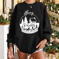 여성용 후드 스웨터 Seeoushy 크리스마스 겨울 선물 여성 드롭 어깨 인쇄 Crewneck 긴 소매 Sudaderas 탑 풀오버 스 스트레