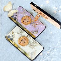 Fiore di lusso Butterfly PC Duro PC TPU Casi per iPhone 13 2021 12 Pro Max Mini 11 XR XS 8 7 Plus Crystal Bling Diamond Diamond 360 Finger Ring Holder Phone Mobile Back Skin Cover