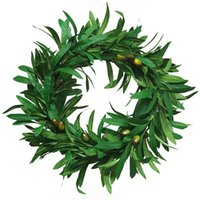 Decorative Flowers & Wreaths 40cm Large Olive Leaf Garland Artificial Plant Vine Rattan Wreath For Wedding Door Decoration Wall Hanging DIY