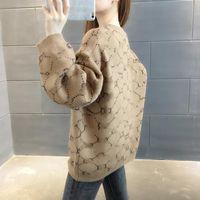 21ss осень роскошные женские одежда свитер дизайнер хлопчатобумажные свитера повседневная классическая вышивка женские воротничка пальто вязание контрастные цвета длинная буква печать рукава