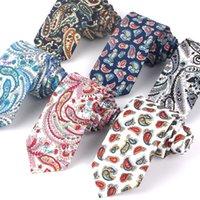 Patrón de algodón de paisley para hombres mujeres anacardo corbata para el negocio de boda trajes adultos adultos corbatas delgadas delgadas hombres corbatas