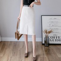 Skirts Ailegogo Spring Women High Waist Solid Color Medium Skirt With Belt Streetwear Casual Female Slim Fit Split A-line