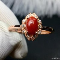 Cluster Rings KJJEAXCMY Fine Jewelry 925 Sterling Silver Inlaid Natural Red Coral Female Ring Trendy Support Detection