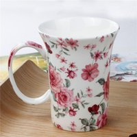 Mugs Simple Bone China Teacup Romantic Floral Valentine's Day Christmas Coffee Mug For Women Friends Coworker Boss