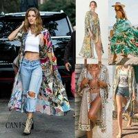 Mujeres Vintage Floral Shoet Shawl Long Kimono Cardigan Boho Jacket Chaqueta CAMISEA CAMISEA PLAYA BIKINI CUBIERTE UP TOPS CHAILTAS DE MUJERES