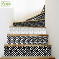 Funlife Mosaic Geometric Stair Stickers Floor Stickers Removable Waterproof Easy to Clean for Stairway Kitchen Bathroom Decor H0827
