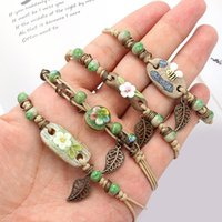 Charm Bracelets Retro Bracelet Women's Flower Leaf Ceramic Hand Made DIY Artware Woman Girl Gift Jewelery Ethnic Knitting
