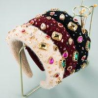 New Fashion Multi Color Crystal Headband for Woman Elelgant Rhinestone Padded Thick Sponge Hairband Girls Party Turban Headwear
