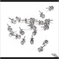 Bauteile Drop Lieferung 2021 100pcs / lot 6 * M Pin Perle Sier Farbe Ende Crimpkappen für Perlen DIY Schmuckzubehör machen 95lig