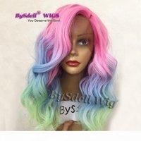 Nueva llegada corta media longitud suelta onda corporal encaje peluca frontal colorido sirena arco iris pelo anime cosplay party lace frontal wigs