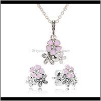 & Sets Jewelryauthentic 925 Sterling Sier Pink Enamel Flower Pendant Necklace Earring Set With Box For Pandora Jewelry Womens Earrings Drop D