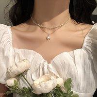 Mode coréenne perle perle pendantads colliers simples tempérament mignon double chaîne pendentif claviclechain femmes collier bijoux girl cadeau wholesale
