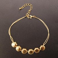 Trendy Wax String Gold Shell Rope Chain Anklets For Women Bohemian Beach Adjustable Ankle Bracelets On Leg Barefoot Jewelry