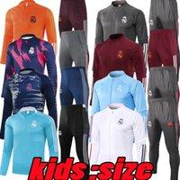 Kinder 20 21 22 Real Madrid Black Fussball Jersey Trainingsanzug Jacken Chandal 2021 2022 Camiseta de Futbol Hazard Boy Benzem MODRIC Kind Fußballjacke Traininganzug