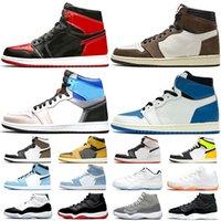 Nike Air Jordan 1 11  플러스 남성 여성 운동화 남성 트레이너 트리플 블랙 화이트 레드 전세계 오레오 통기성 패션 여성 스포츠 스니커즈 크기 36-46