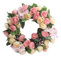 Decorative Flowers & Wreaths 1PC Simulation Rose Garland Silk Cloth Hanging Wreath Realistic Decoration Creative Wedding Layout Decor For Wa