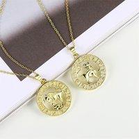 FJ 12 Signe du zodiaque Femme Hommes 585 Rose Gold Color Constellation Pendentifs Poissons / Aquarius Curb Collier Chaîne1 900 R2