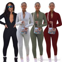 Skinny One-piece Bodysuit Fashion Solid Color Sportswear Rompers Zipper Design Long Sleeve Women Jumpsuits Tracksuits