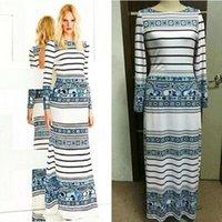 فساتين عارضة العلامات التجارية الفاخرة مصمم كم طويل فستان ماكسي المرأة البوهيمي الأزرق المطبوعة تمتد جيرسي الحرير زائد الحجم xxl