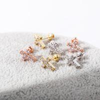 Minimalist 925 Silver Cubic Zirconia Stud Earrings For Women Simple Geometric Cross Earrings Hip Hop Fashion Jewelry