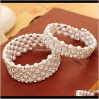 Other Bracelets Jewelry Drop Delivery 2021 Korean Fashion Multi-Layer Pearl Inlaid Diamond Spiral Bracelet Womens Elastic Wide Braceletdot I8