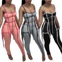 Mulheres de duas peças Calças Tracksuit Streetwear 2 roupas Spaghetti Strap Listrado Crop Top Lápis legging verão borlas sweatsuits GSK