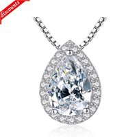 Designer European and American fashion S925 sterling silver water drop pear shaped Necklace Pendant for women&#39s luxurious we