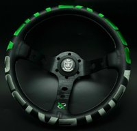 320mm Vertex 1996 Green Stitch Leather Deep Dish Steering Wheel For OMP Hub Race