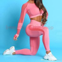 Tracksuits winter Womens two piece Set Crop Tops Suit Seamless Tights Yoga Pants Gym wear High Waist Leggings Sports Elastic Clothing