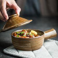 Chinesischer Stil Keramik 350ml Kleiner Topf mit Deckel Rice Bowl Noodle Dessert China Porzellan G313 Schüsseln