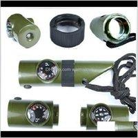 7 в 1 Мини SOS Kit Camping Switival Shivise с Compass Thermomer Flashlight Лупа Инструменты Наружные гаджеты 4k9WF Mak6z