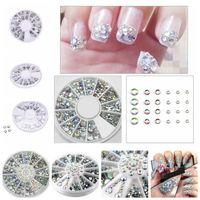 Nail Art Kits 1 Box Mixed Color Rhinestone Shiny Crystal Diamond Glitter Beads 3D Decorations Accessories In Wheel 208