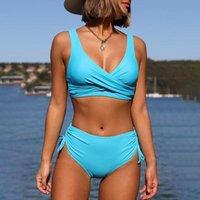여성 수영복 수영복 푸시 위로 비키니 섹시 플러스 사이즈 캐주얼 여성 2021 높은 허리 Bikinis 세트 마이 롭 드 베인 Femme