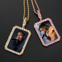 Personalized Custom Picture Photo Pendant Necklace Women Men Iced Out Rectangle Round Frame Necklaces with 24 inch Stainless Steel Chain
