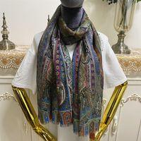 Женский шарф хорошего качества 52% шелк 48% кашемерель материал печати цветы уточнения тонкие и мягкие длинные шарвы для женщин размером 175см - 65см