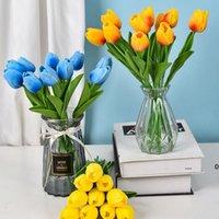 العديد من الألوان PU الاصطناعي الزخرفية الزهور توليب باقة 34 سم / 13.4 بوصة مصغرة ريال تاتش زهرة FWD6112