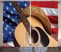 Curtain & Drapes Western Window Curtains For Kids Room Country Music Acoustic Guitar American Flag Fourth Of July Po