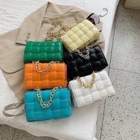 Bolso bolso de moda bolsa de hombro de moda lujos diseñadores mujeres acolchadas a cuadros cuero genuino gran cadena tejida almohada cruzado 2021
