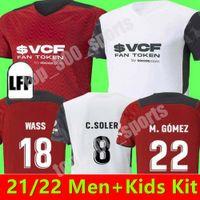 Hommes + Kit Kit Kit 21 22 Valencia Soccer Jerseys 2021 Accueil Gardedes Gameiro Florenzi Rouge Blanc Camisetas de futbol Rodrigo M.Gomez Jersey Shirts de football
