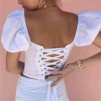 Summer Women Square Neck Lace Up Corset Blouse Vintage Sexy Big Leaky Back Tie Puff Sleeve Top Crop Tops Shirts Women's Blouses &
