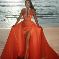 Crystal Evening Dresses With Detachable Train Glitter Beads Ruched Satin Mermaid Prom Dress Deep V Neck Customize Robe de mariée Party Pageant Gowns