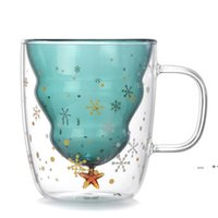 Sevimli Noel Ağacı Kupa Çift Duvar Cam Kahve Bardakları Silokon Kapağı ile Kar Tanesi Yıldız Noel Hediye Şarap Çay Süt Tumbler Deniz Gemi FWE9248