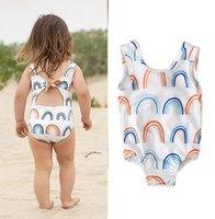 Barn Rainbow Skriv ut Enstycken Badkläder Baklösa barn Boutique Kläder 1-4T Girls Vest Swimming Clothes