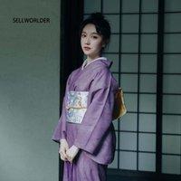 Casual-Kleider 2021 Sellworlder Retro Japanischer Kimono-Stil Yukata-Mädchen-Prach-Kleid Frau Starlight-Druck lang mit Handtasche