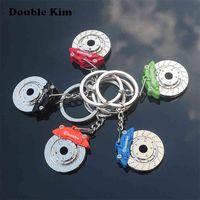 الإبداعية عجلة الفرجار المفاتيح سيارة قرص الفرامل الفولاذ المقاوم للصدأ الرجال والنساء الخصر مفتاح سلسلة قلادة