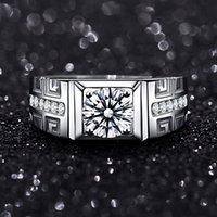 Moissanite S925 Aperto Pure Pure Silver Fashion Uomo Simulazione da sposa Anello Diamante chiuso