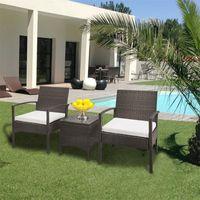 3 pezzi Patio esterno Soggiorno Set di mobili Sedie in rattan Sedie in vimini Set di vimini Uso per il cortile Portico Giardino Balcone a bordo piscina