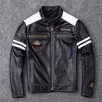 Schwarz-Weiß-Nähte Motorrad Echtes Leder Jacken Live Fast Skull Head Wing Stickerei Back Racing Jacke