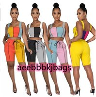 2 Pcs Women casual Tracksuits Summer yoga Outfits Tank top+Shorts Contrast color Sportswear Sexy running clothing Comfortable wearing Plus size sweatsuits 2XL 4675